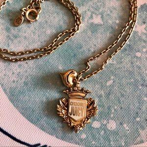 """Juicy Couture Long 28"""" Gold Crest Pendant Necklace"""